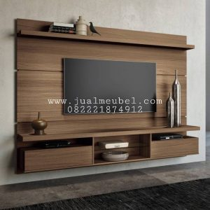 Rak Backdrop TV Jati Minimalis Modern